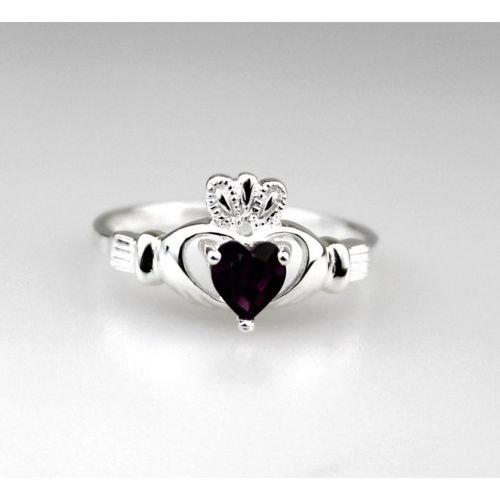 Claddagh Birthstone Ring Silver February Sz 9