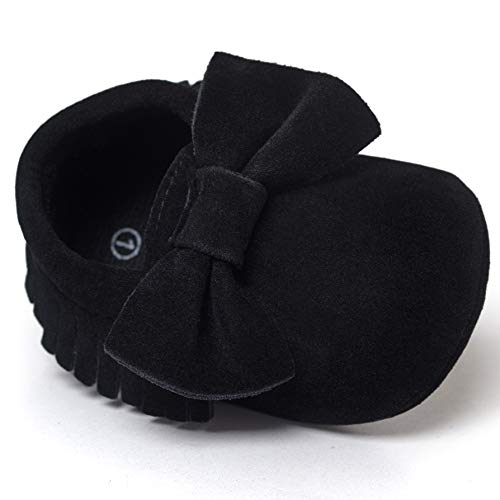 - LIVEBOX Infant Baby Girls and Boys Premium Soft Sole Moccasins Tassels Prewalker Anti-Slip Toddler Shoes (S: 0~6 Months, Bow-Black)