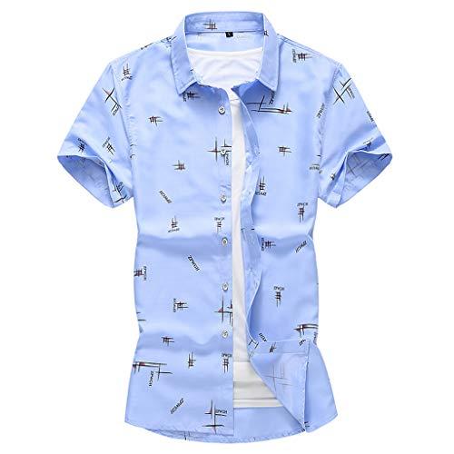 Mens Summer Fashion Shirts Casual Short Sleeve Beach Tops Loose Casual Blouse