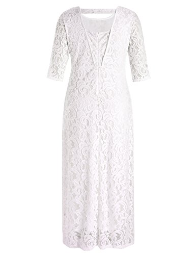 7aa6c7881285 Home/Clothing/Formal/Chicwe Women's Stretch Plus Size Lace Evening Maxi  Dress White Ivory 4X. ; 