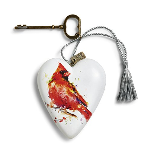 DEMDACO Cardinal Art Heart Watercolor Red 4 inch Resin Stone Tabletop Decorative Sign ()