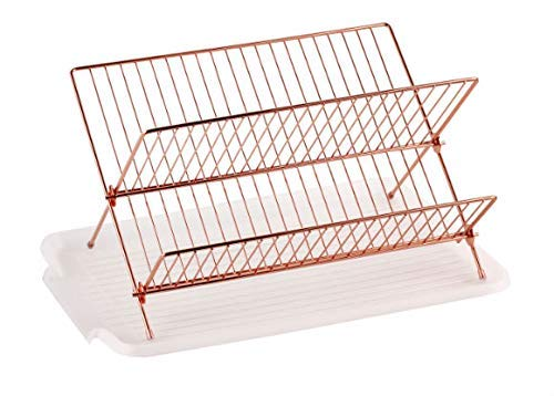 - Deluxe Chrome-plated Steel Foldable X Shape 2-tier Shelf Small Dish Drainers with Drainboard (Copper)