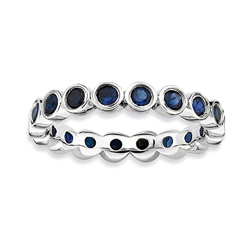 Sterling Silver Stackable Expressions Created Sapphire Ring Size 7 by Jewels By Lux