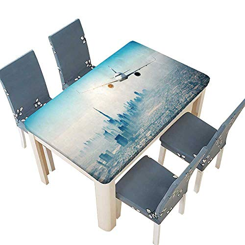 PINAFORE Polyesters Tablecloth Commercial Airplane Flying Over Modern City Wedding Birthday Baby Shower Party W57 x L96.5 INCH (Elastic Edge)