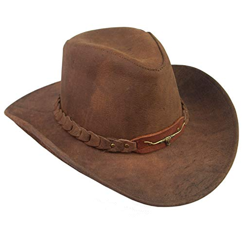(Kakadu Traders 6HW46 Brumby Leather Hat - Brown - M)
