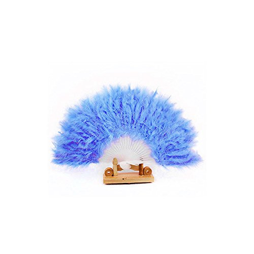 [Voberry Nice Feather Fan for Dance Props Hand Goose Feather Folding Fan Wedding (Blue)] (Fan Costumes)