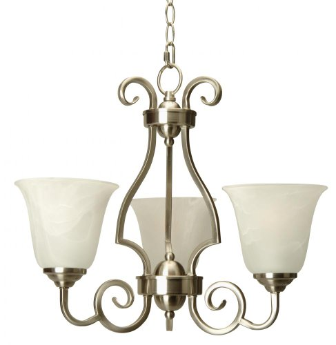 Craftmade 7120BN3 Up Chandeliers with Alabaster Swirl Glass Shades, Brushed Nickel