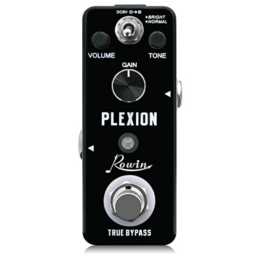 Rowin Plexion Distortion Pedal for Guitar & Bass with Bright and Normal Mode True Bypass - Metal Distortion Mini Effects Pedal