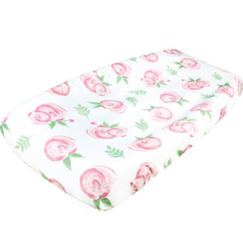 """Premium Cotton Diaper Changing Pad Cover """"Grace Floral"""" by Copper Pearl"""