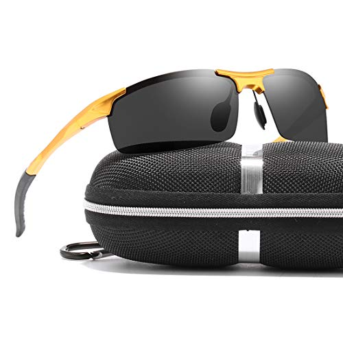 luojery Men's Fashion Driving Polarized Sports Sunglasses for Men Al-Mg Metal Frame Ultra Light (Gold Frame Grey Lens, as the ()