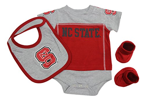 Outerstuff NC State Wolfpack Baby Clothing, University 3 Piece Creeper Bib Booties Apparel Set ()