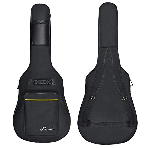 Faswin 41 Inch Guitar Bag Dual Adjustable Shoulder Strap Acoustic Guitar Gig Bag - Black