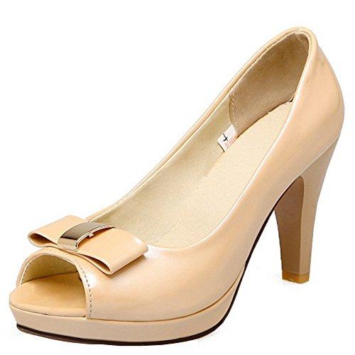RAZAMAZA Mujer Moda Peep Toe Sandalias Tacon Embuda Tacon Alto plataforma Sin Cordones Zapatos De Bowknot Albaricoque