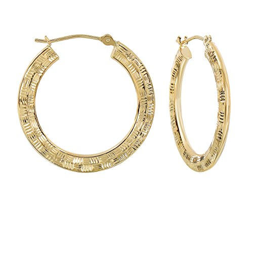 ond-cut Round Flat Hoop Earrings, 1 Inch Diameter ()