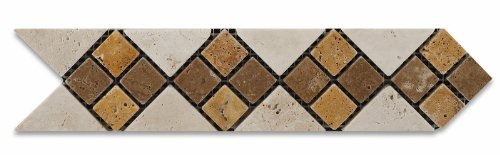 Mixed Travertine Tumbled Arrow Border Listello Liner - Lot of 50 pcs. by Oracle Moldings