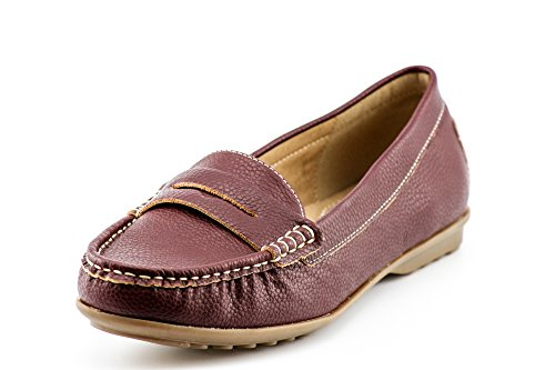 Flats Slip Mocassins Burgundy Comfort on KIKI Shoes Boat Loafers Women's Penny CALICO BqwYAX8X