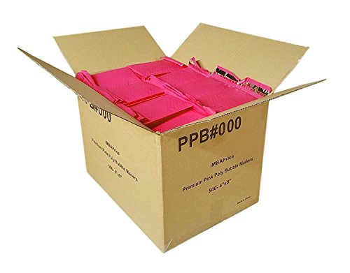 iMBAPrice 500#000 4x8 Hot Pink Color Self Seal Poly Bubble Mailers Padded Shipping Envelopes (Total 500 Bags) by iMBAPrice
