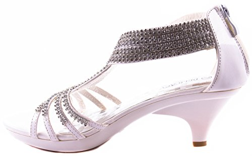 Delicacy Shoes Womens Angel-37 Mid Heel Open Toe Pumps With Twisted Straps With Decorative Rhinestones White 5b90R