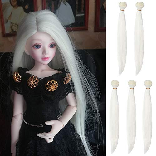 5pcs/lot 25cmx100cm Long Straight Synthetic White Handcraft Hair Extensions for Making BJD Pullip Doll