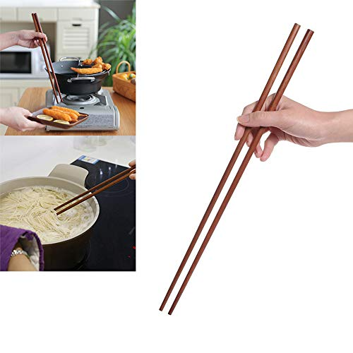 Chopsticks Wooden Extra Length Chopsticks Natural Bamboo Chopsticks Reusable Portable Dishes for Fried Kitchen Cutlery 42cm - 2 Pairs