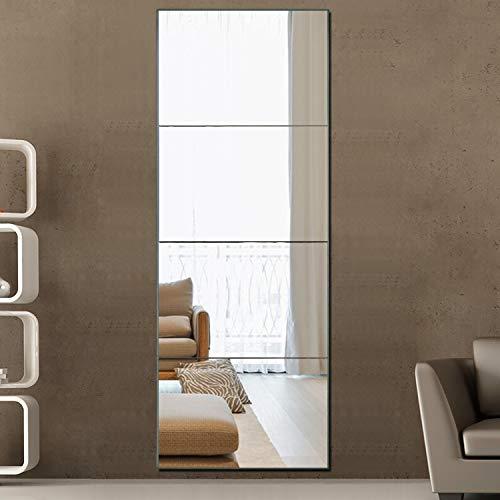 PexFix Full Length Mirror Frameless Mirror, 12inch X 16inch Wall Mirror 4-Piece Set Free Combination Rectangular Glass Flat Mirror Tiles Decoration Mirrors for Bathroom, Livingroom or Bedroom