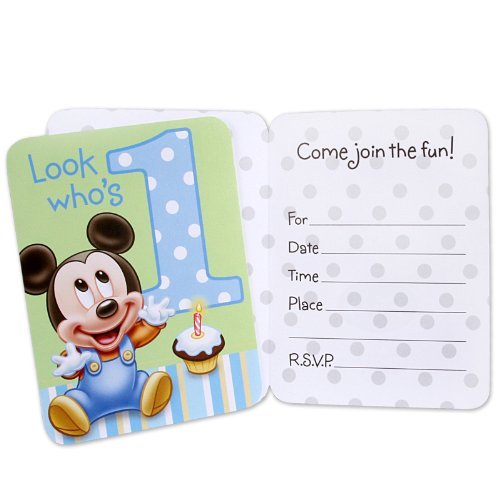 Hallmark Mickey's 1st Birthday Invitations - 8 ct]()
