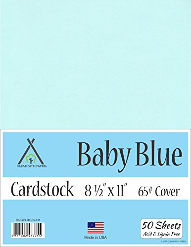 Baby Blue Cardstock - 8.5 x 11 inch - 65Lb Cover - 50 Sheets