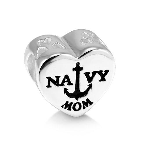 925 Sterling Silver Enamel US American Flag Navy MOM Heart Bead Charm Fit Major Brand Bracelet