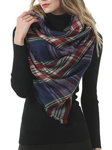 botlav Womens Blanket Scarf Scottish Plaid Blankets Winter Warm Fashion Scarves Oversized