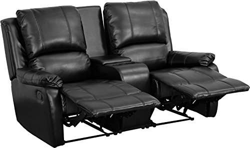 Seating Unit - Flash Furniture Allure Series 2-Seat Reclining Pillow Back Black Leather Theater Seating Unit with Cup Holders