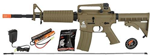 UKARMS Lancer Tactical M4A1 AEG Metal Gears Airsoft Gun Rifle w 9.6v Battery & Charger (Tan High Velocity)