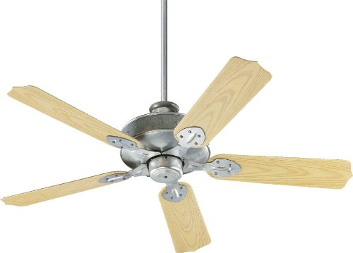 Quorum International 137525-9 Hudson Energy Star Patio Ceiling Fan with Medium Oak ABS Blades, 52-Inch, Galvanized Finish