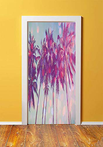 Nature 3D Door Sticker Wall Decals Mural Wallpaper,Palm Trees Hawaiian Tropic Seashore Beach Californian Miami Sunbeams Image,DIY Art Home Decor Poster Decoration 30.3x78.3175,Fuchsia Purple Green ()