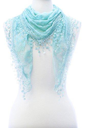 Long Sash Style Scarf (LL Ladies Triangle Aqua Blue Rose Pattern Lace Head Scarf with Flower Tassels)
