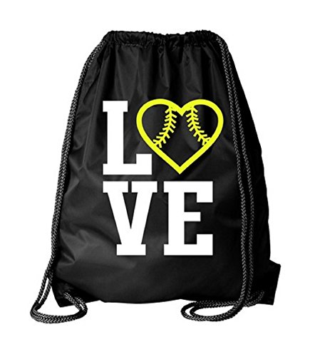 Kenz Laurenz Softball Bag Drawstring Cinch Sack - by Gifts for Girls Women Player Team Coaches Sport Gym Stadium String Bags Cheap Backpacks Yellow Red Stitching Garment Back Pack Tote (1) ()