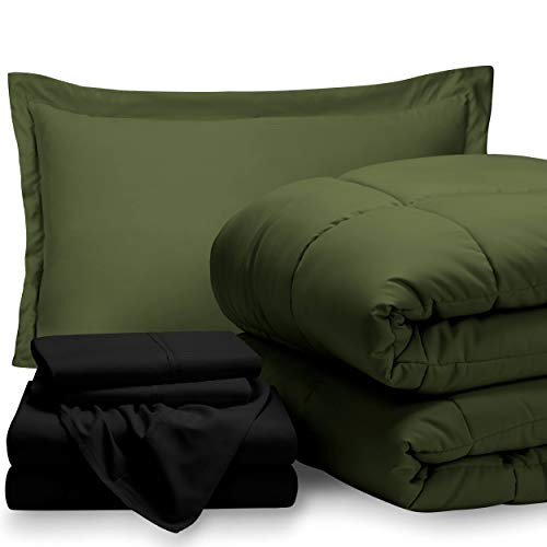 Bare Home Bed-in-A-Bag 5 Piece Comforter & Sheet Set - Twin Extra Long - Goose Down Alternative - Ultra-Soft 1800 Premium - Hypoallergenic - Bare Breathable Bedding (Twin XL, Green/Black)