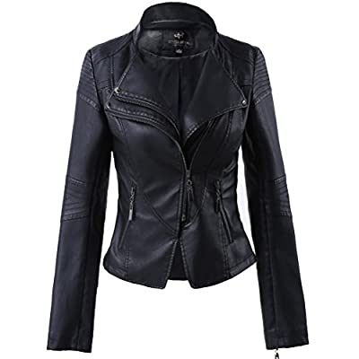 LLF Women's Faux Leather Stand-up Collar Moto Biker Short Jacket,Cropped Jacket