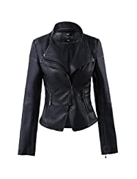 LLF Women's Faux Leather Stand-up Collar Moto Biker Short Jacket