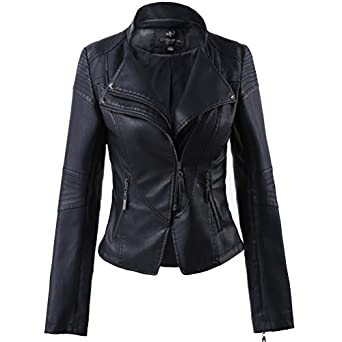 LLF Women's Faux Leather Stand-up Collar Moto Biker Short Jacket ...