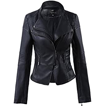 LLF Women's Faux Leather Stand-up Collar Moto Biker Short Jacket X-Small Black