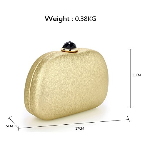 UK Rhinestone Case Evening Bag DELIVERY Clutch Stunning Gold Hard FREE C8wqp