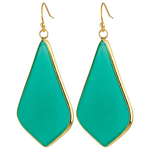 - rockcloud Crystal Stone Dangle Earrings Gold Plated, Rhombus Shape, Deep Green Crystal Glass