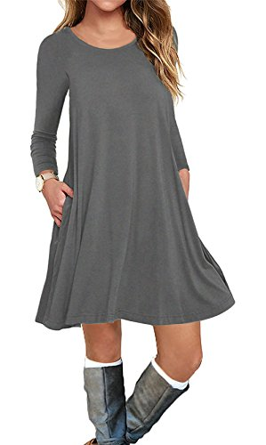 AUSELILY Women's Pockets Casual Swing T-shirt Dresses (2XL, Long sleeve-Gray)