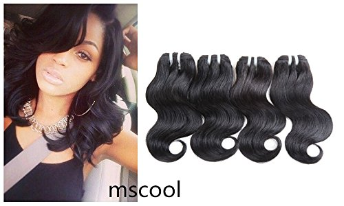 MSCOOL Unprocessed Brazilian Virgin Hair Body Wave Bundles 4 pcs/lot 10inch 50g/pcs Short Curly Hair Ombre Human Hair Extensions Two Tone Virgin Brazilian Hair Weaves (1B)