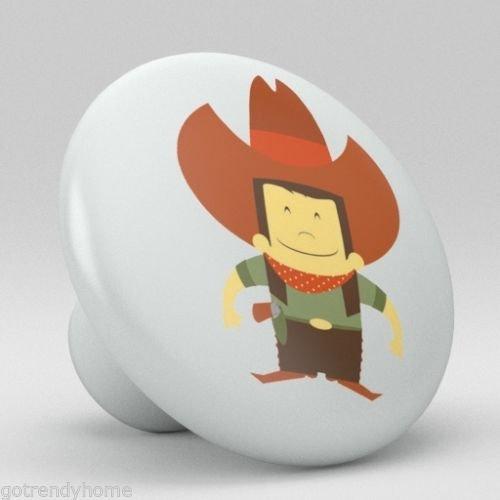 Cute Cow boy Ceramic Knobs Nursery Pulls Kitchen Drawer Dresser Cabinet 1070 by gotrendyhome