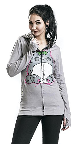 Cupcake Cult Voodoo Friend Chaqueta con capucha Mujer Gris Gris