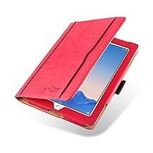JAMMYLIZARD [ iPad 4 (Retina Display), iPad 3 & 2 Case ] The Original Red & Tan Leather Smart Cover
