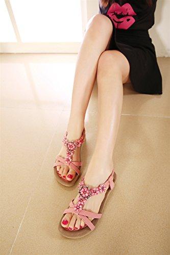 Dama Sandalias Espiga Ocio Zapatillas Dulces Flores Rosado Verano Planas Xiaoqi Vacaciones De Bohemia Zapatos Moda Señora rTwqrC