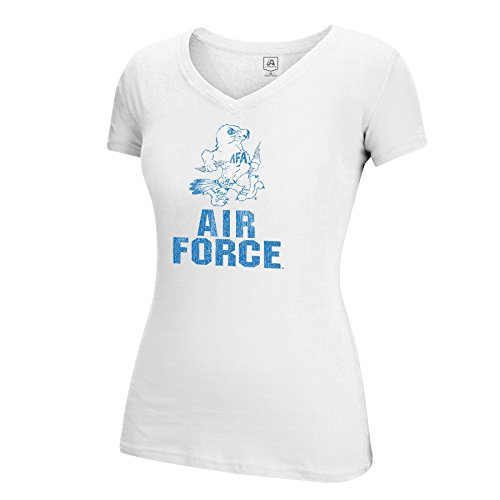 T-shirt Air Force Adult - J America NCAA Air Force Falcons Adult Women Large Mascot Essential Tee, Small, White