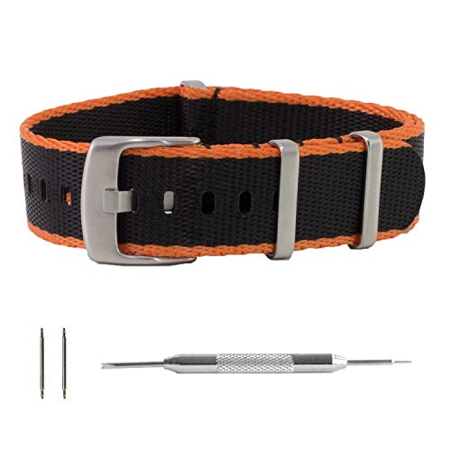 f9c93ce6caf Benchmark Basics - Seat Belt NATO Strap - Ballistic Nylon Watch Band  w Thick Brushed